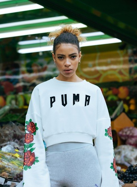 PUMA Gothic Floral Crop Crew Sweatshirt