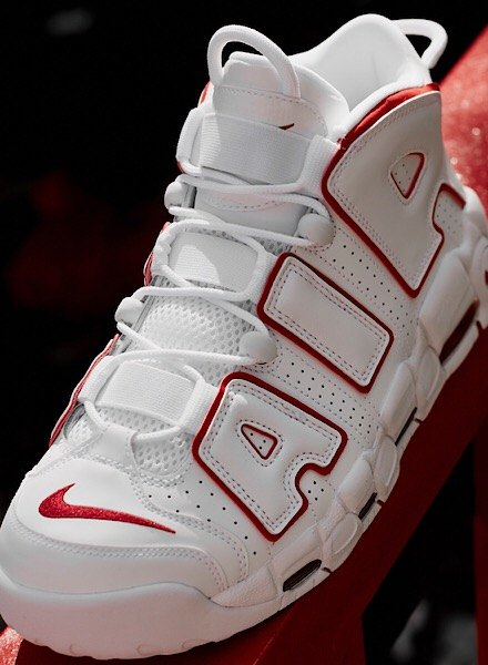 Nike Air More Uptempo White and Varsity Red