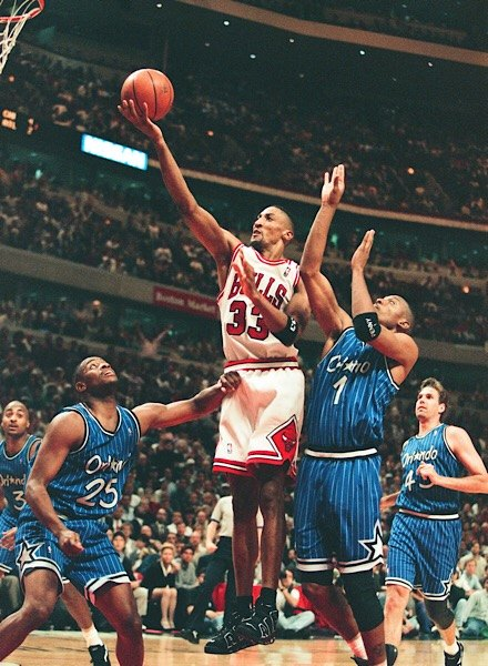 Scottie Pippen wearing Air More Uptempo