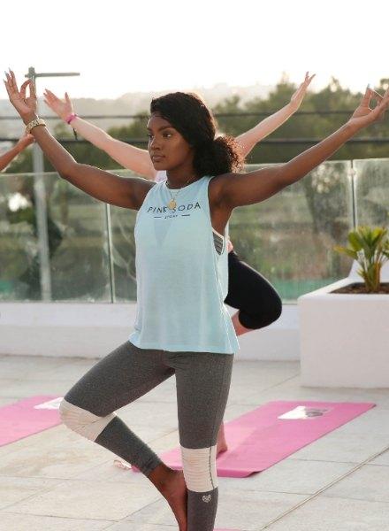 yoga pose pink soda ibiza