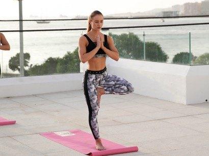 sunset yoga pink soda workout