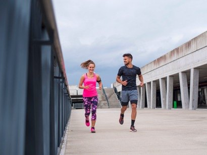 Young couple on a run