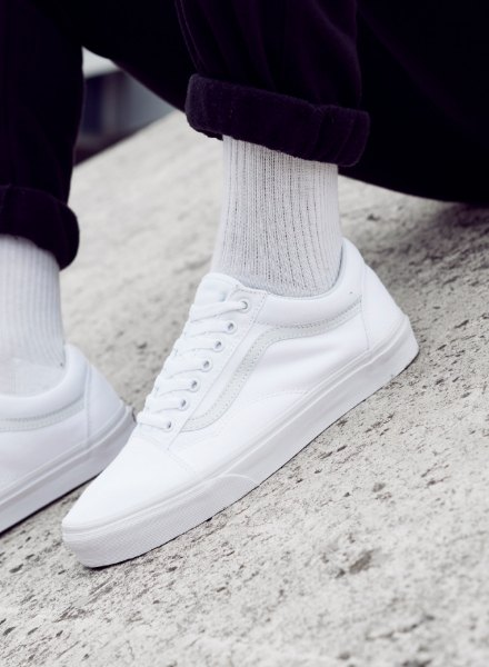 old skool vans white footwear