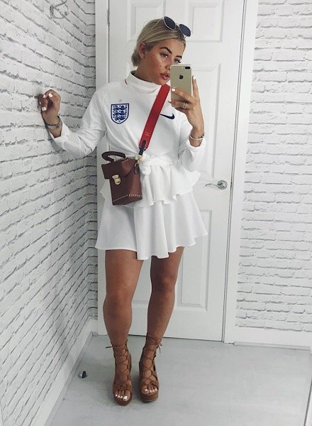 alisha le may wearing an england shirt