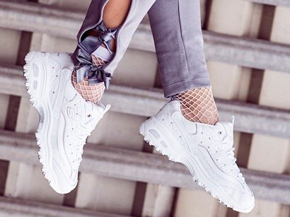 white skechers d'lites