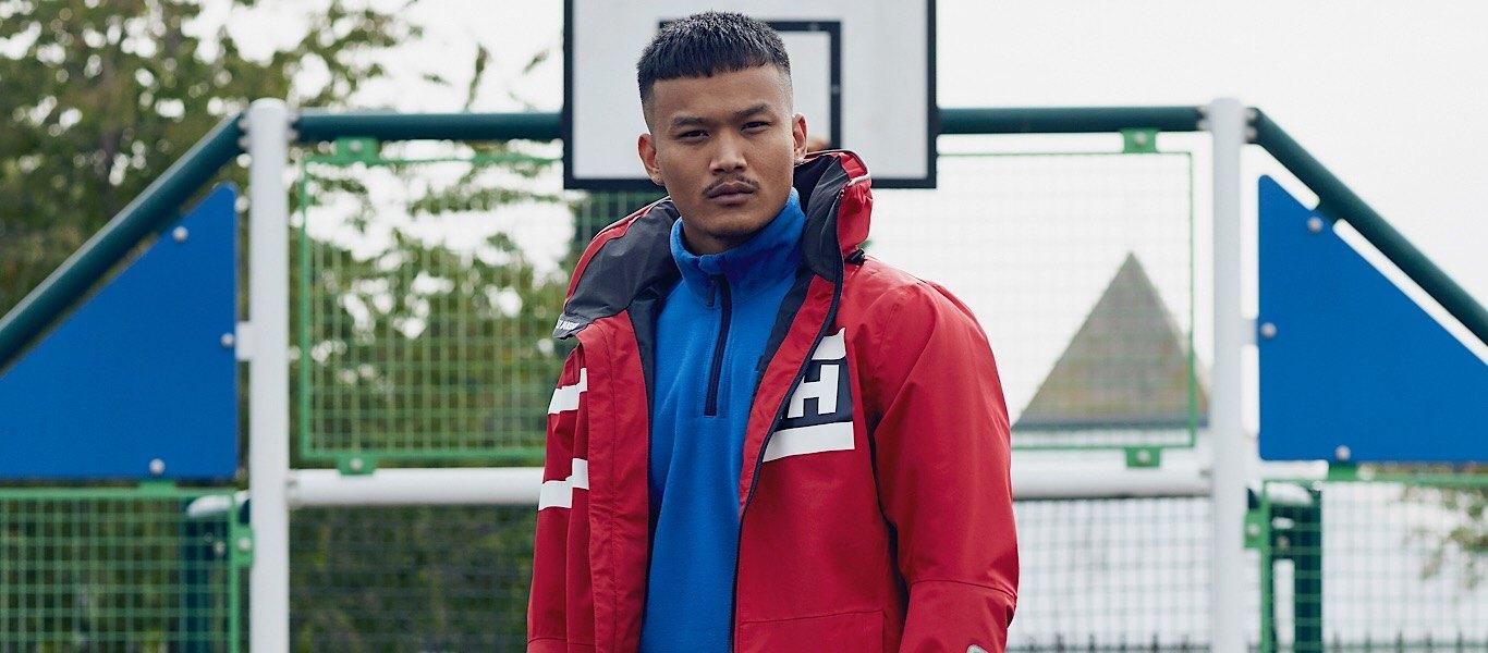 red waterproof helly hansen jacket
