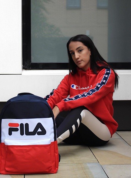 Red Champion Hoodie, Fila Backpack