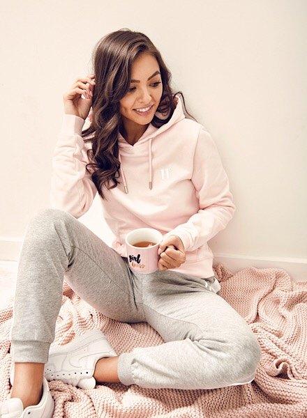 pink hoodie and grey track pants