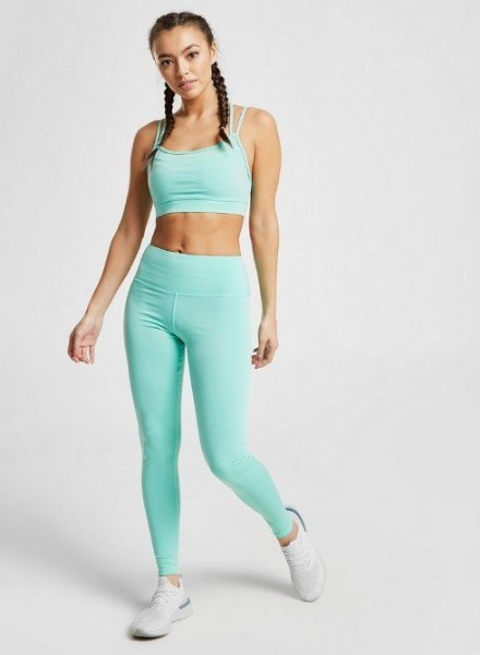 blue strappy seamless bra and leggings
