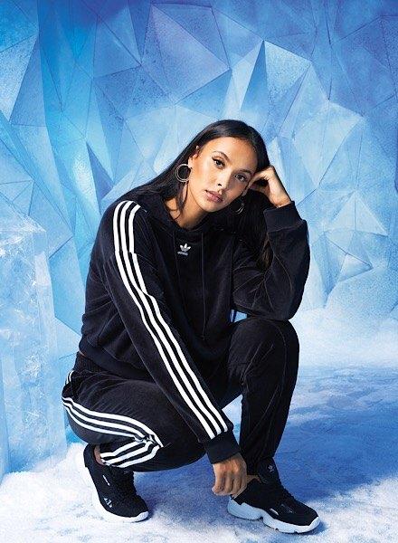 maya jama in adidas Originals tracksuit