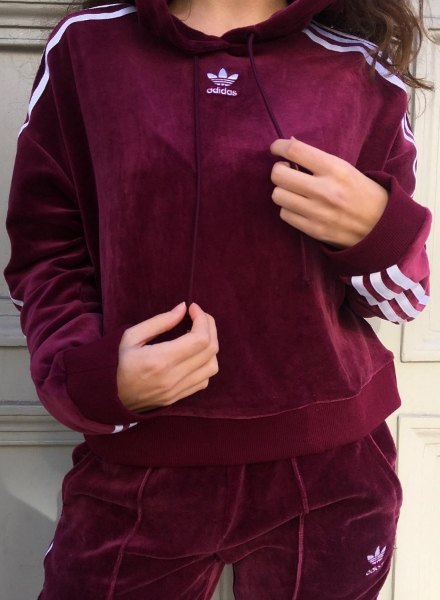 burgundy adidas Originals tracksuit