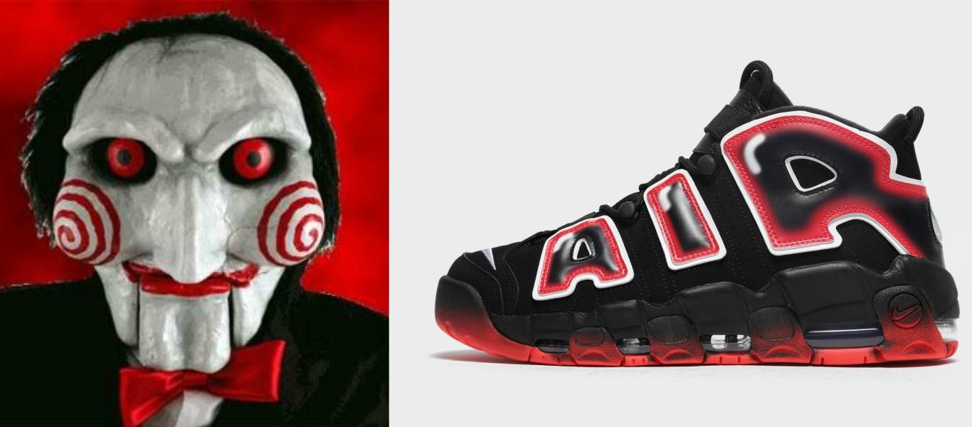 comparativa del muñeco jigsaw de película de terror saw y zapatillas Nike Air Uptempo 96