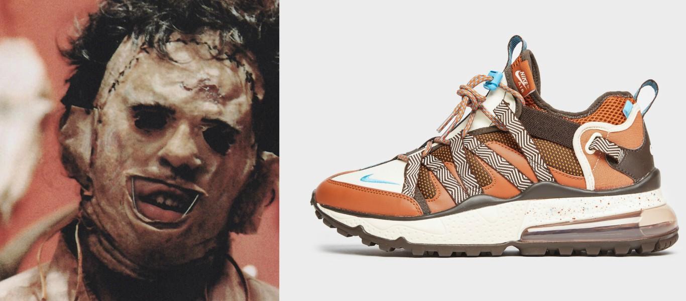comparativa entre Leatherface de la masacre de texas y Nike Air Max Bowfin en marrón