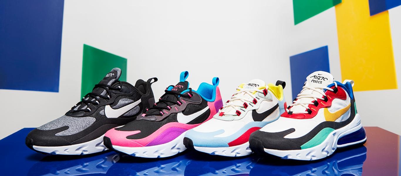 Varias cores das sapatilhas Nike Air Max 270 React