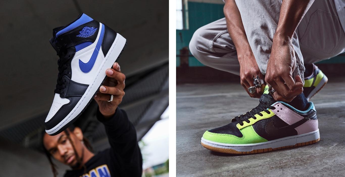 Air Jordan 1 Mid y Nike Dunk Low